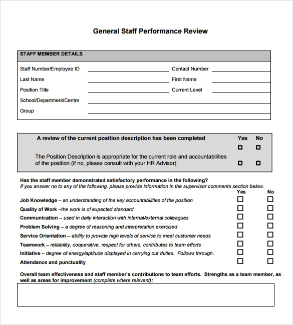 staff performance review sample