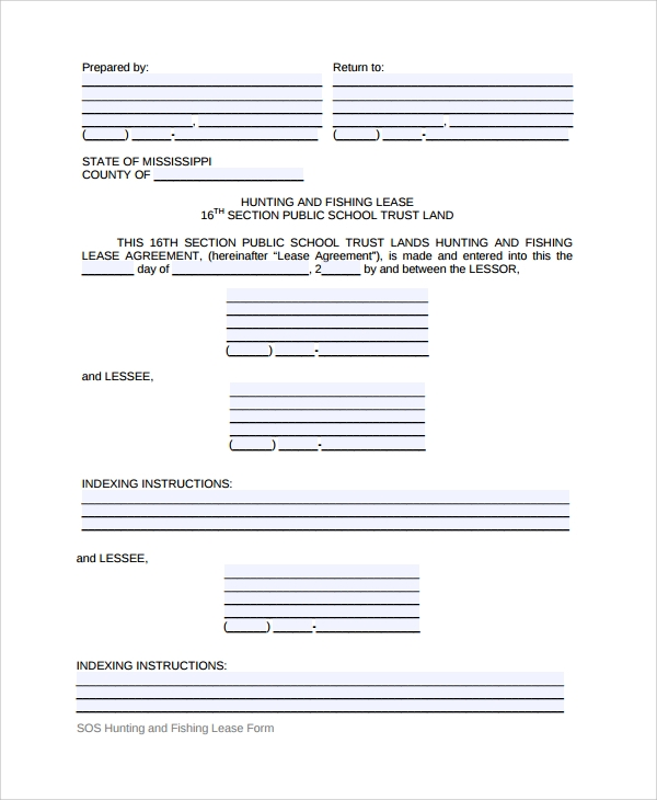 Sample Hunting Lease Agreement   Documents In Pdf Word