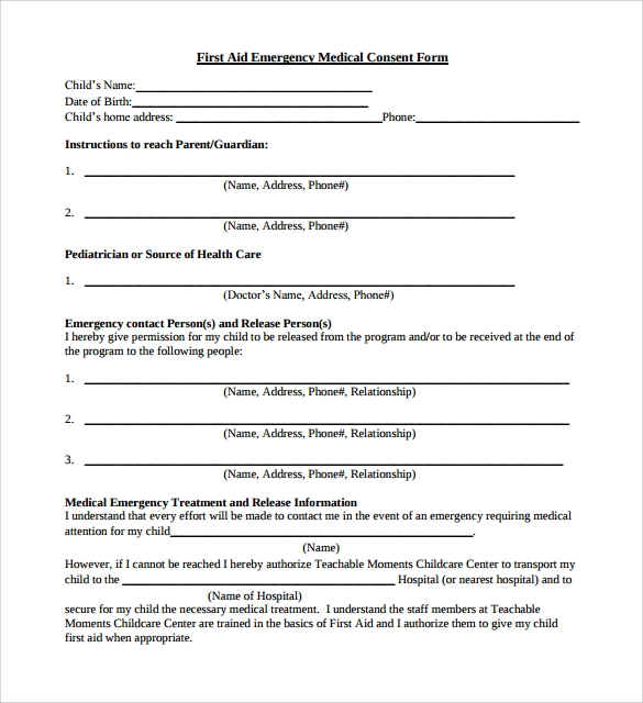 Doc10001375 Sample Medical Consent Form Example medical – Sample Medical Form