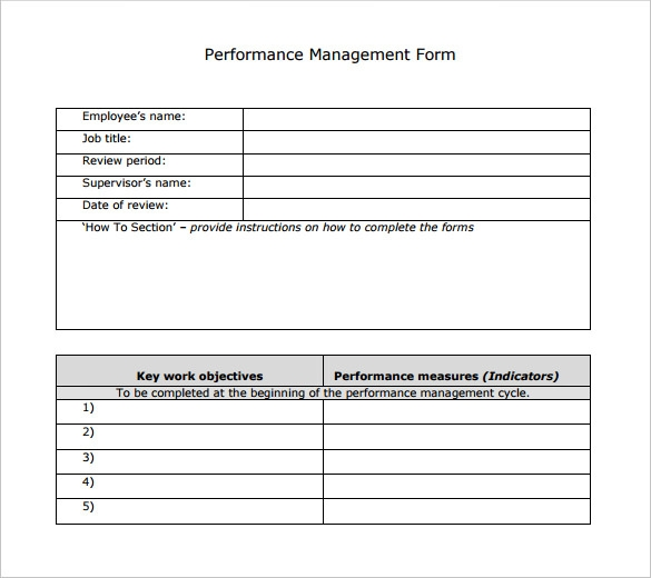 Sample Performance Review Template   7  Documents in PDF Word PM9CFn8x