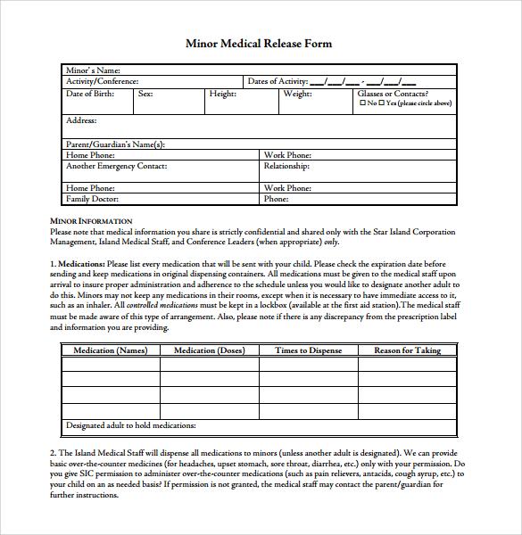 minor medical release form