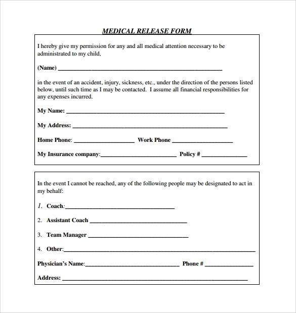 medical release form sample download