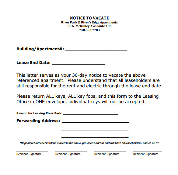 60 day notice apartment template - 10 sample notice to vacate letters pdf word sample