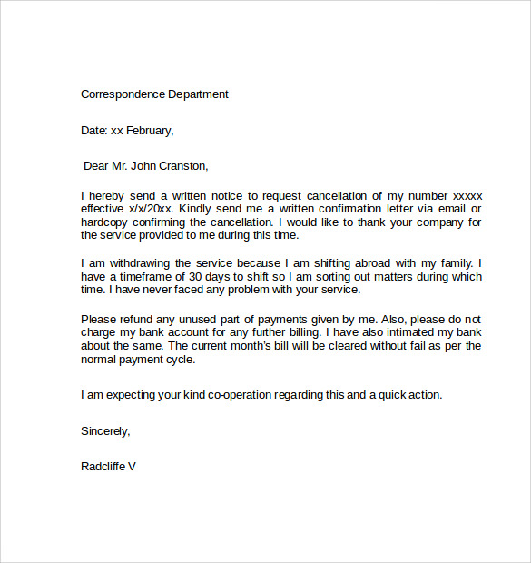 Sample Notice Cancellation Letter 10 Free Documents In
