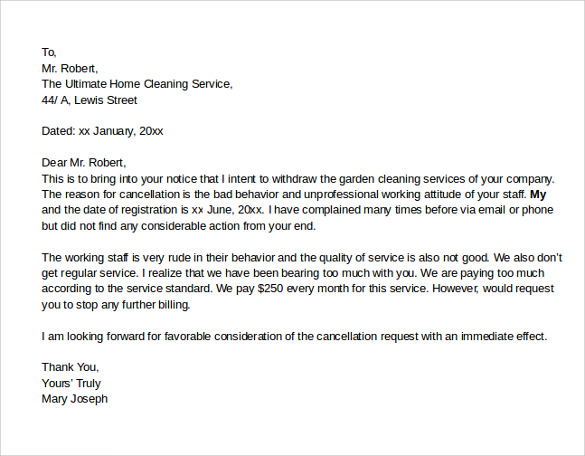 garden cleaning service notice of cancellation letter