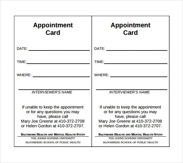 medical appointment card template free - sample appointment cards bing images
