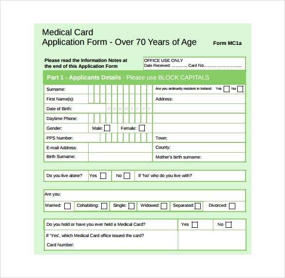 Medical Card Application Form