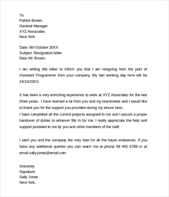 sample 2 week notice resignation letter