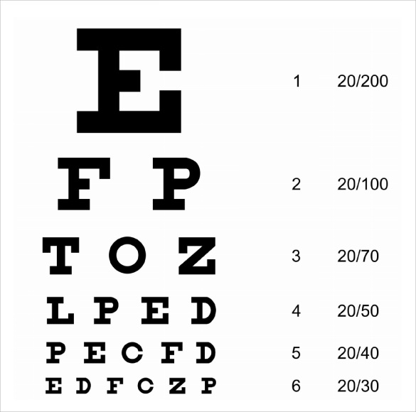Sample Eye Chart Template   Free Documents Download In Pdf