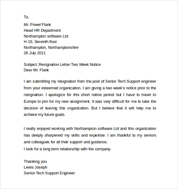 Sample Resignation Letters  Week Notice   Free Documents In Pdf