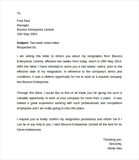 employee 2 weeks resignation notice letter
