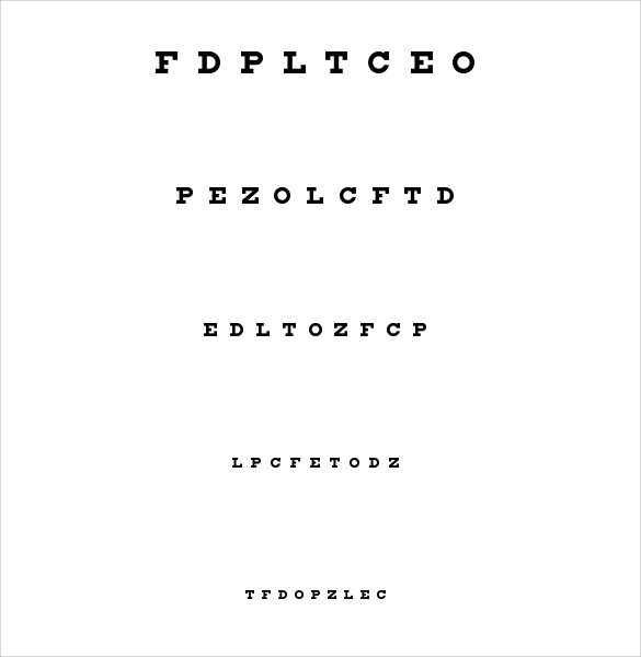 Sample Eye Chart Template 11 Free Documents Download in PDF – Eye Chart Template