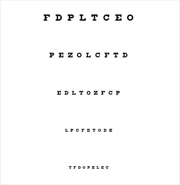 standard eye chart template