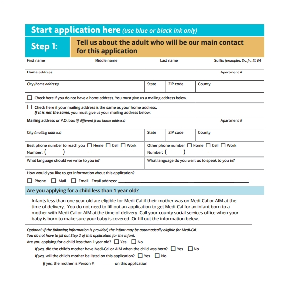 Medical Application Form Sample Download