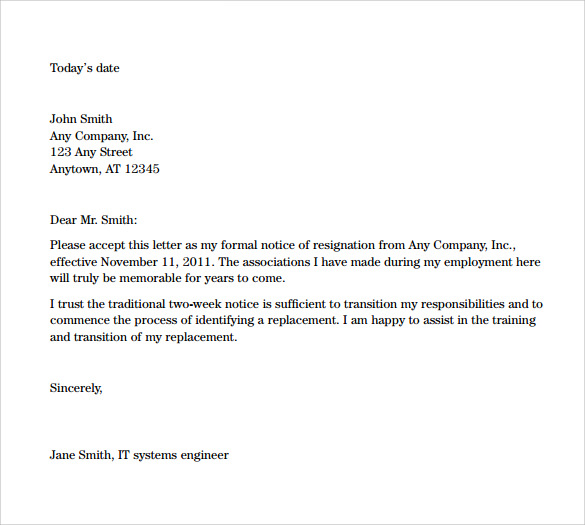 Two Week Resignation Letters Sample