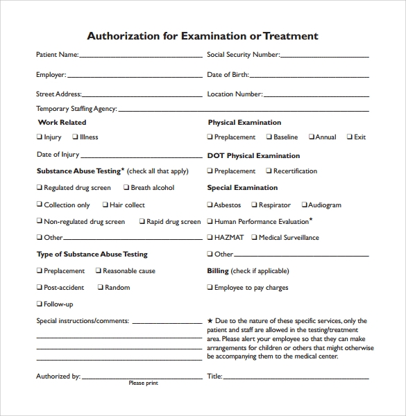 Medical Authorization Form Sample Download1
