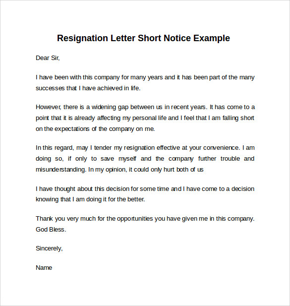 example of resignation letter short notice