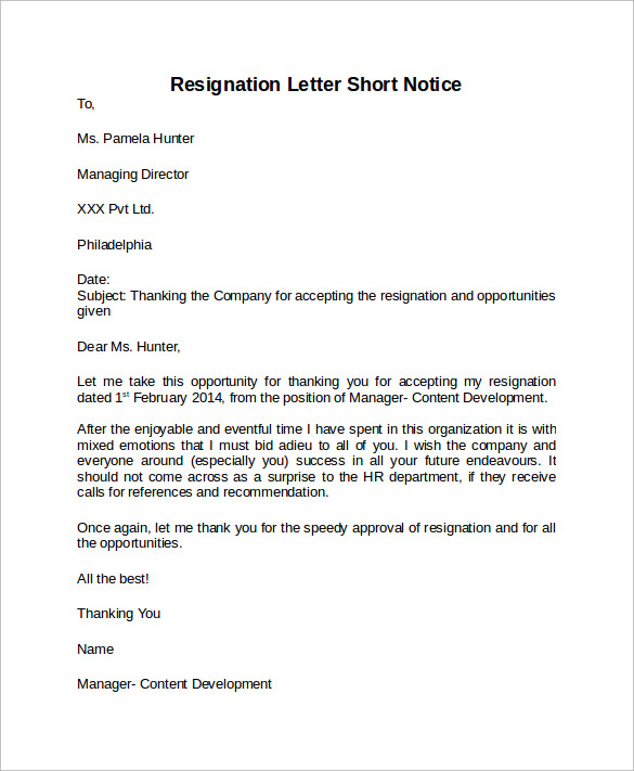 Sample Resignation Letter Short Notice - 6+ Free Documents Download