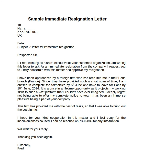 sample immediate notice resignation letter. Resume Example. Resume CV Cover Letter