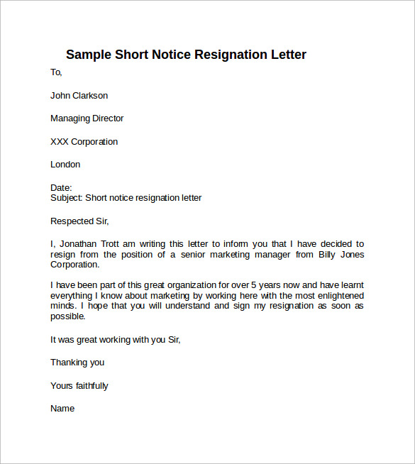 Free 6  Sample Resignation Letter Short Notice Templates