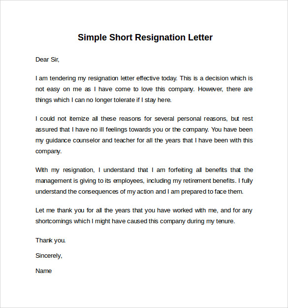 Letter Of Resignation Short Notice  Resume Layout
