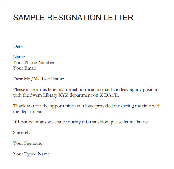 Sample Resignation Letter Short Notice 6 Free Documents – Sample Resignation Letters with Notice Period
