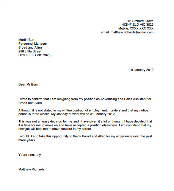 resignation letter no notice in pdf
