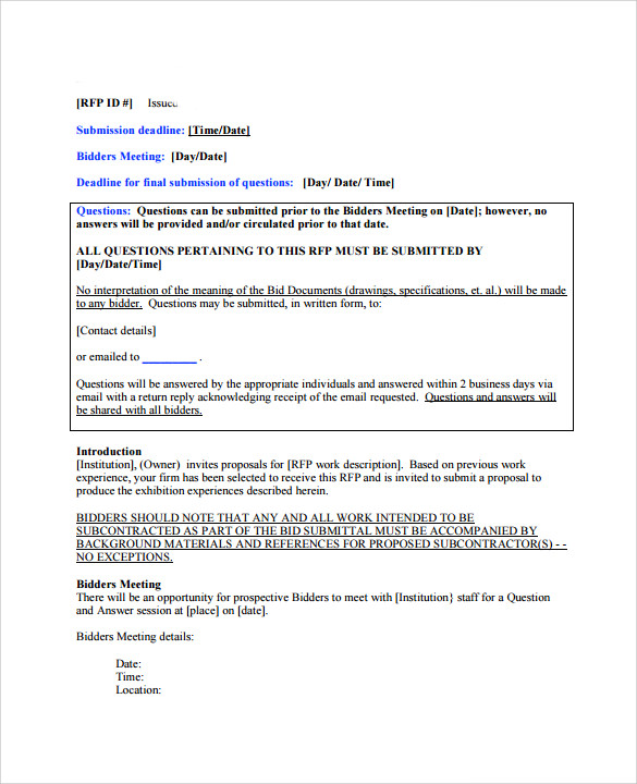 Sample Bid Proposal Template 6 Free Documents In PDF Word – Bid Proposal Templates