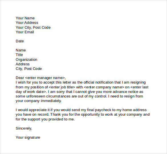 Sample Resignation Letter No Notice   Free Documents In Pdf Word