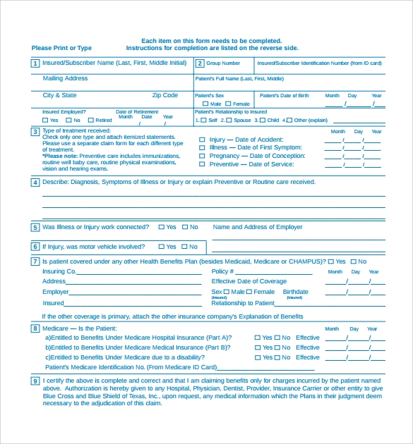 Medical Claim Form   Free Samples Examples Format