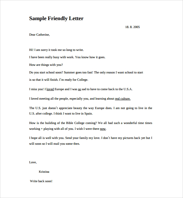 Sample Friendly Letter Format - 8+ Free Documents In Pdf, Word