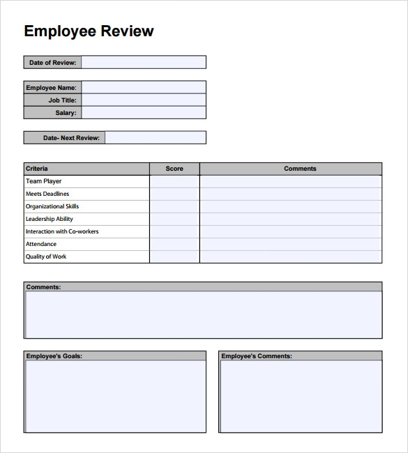 sample employee performance review form