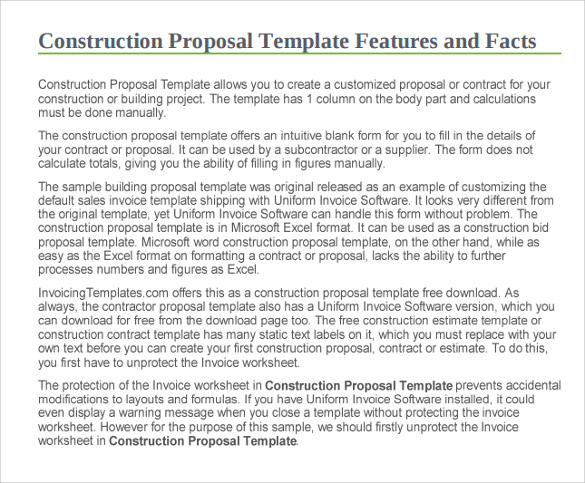 sample construction proposal template 11 free documents in pdf doc