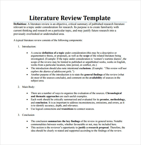 Sample Literature Review Template   6  Documents in PDF Word J6A732T4