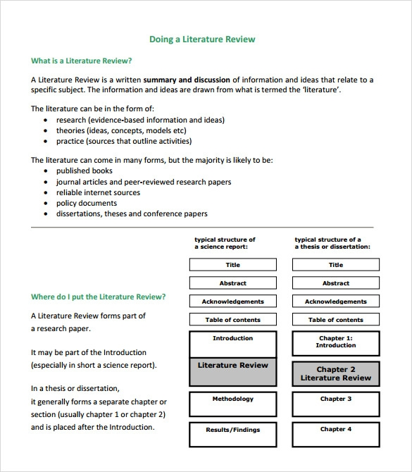literature review example template