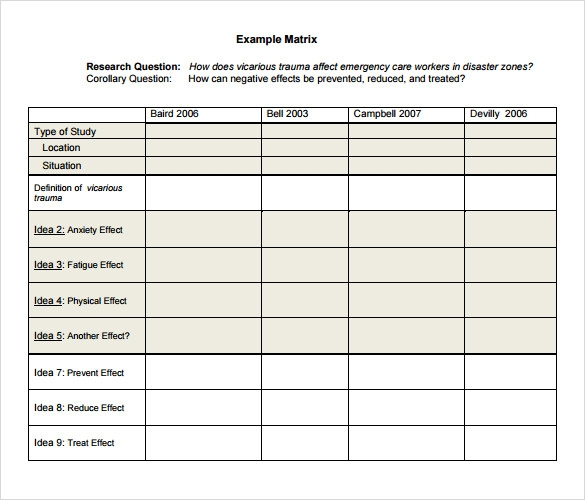 Literature review sample template