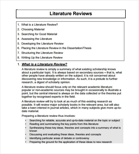 Sample Literature Review Template   6  Documents in PDF Word IUzU6q6c