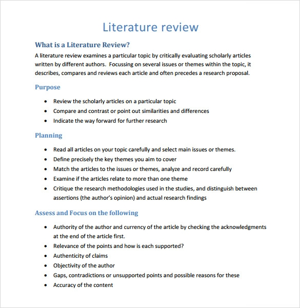 5 literature review templates download for free sample for Literature review template doc