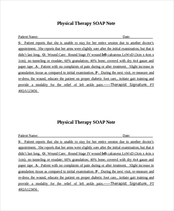 soap notes example physical therapy