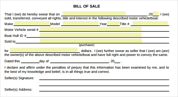 Sample Used Car Bill Of Sale   Documents In Pdf