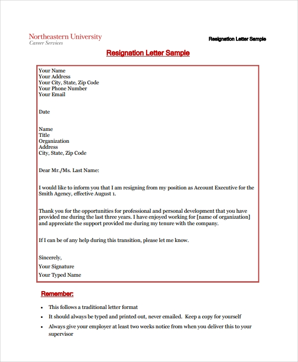 Sample Resignation Letter Example - 10+ Free Documents Download in ...