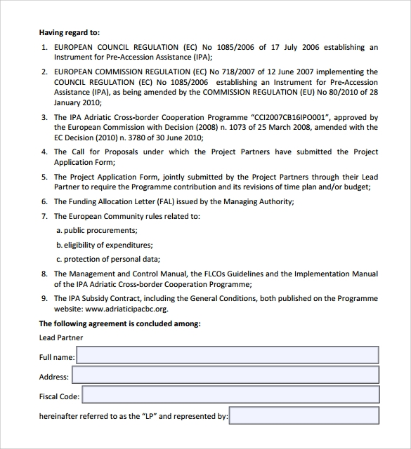 partnership contract template to download