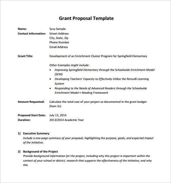 Grant Proposal Letter Business Proposal Letter Business Plan