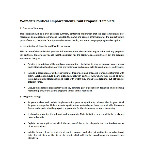 womens political empowerment grant proposal template