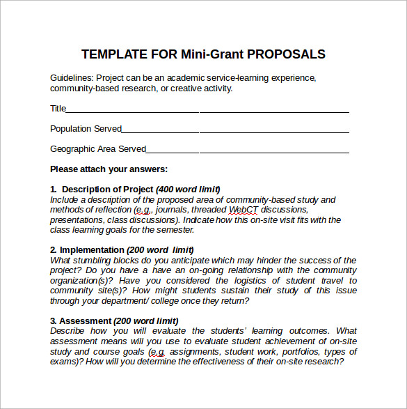 Sample Grant Proposal   Documents In Pdf Word