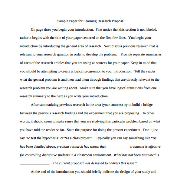Proposal template for research paper