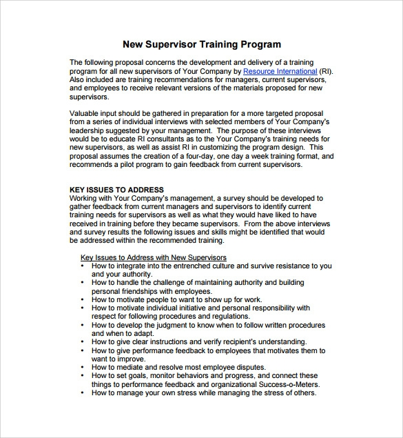 Attractive Supervisor Training Program Proposal Template