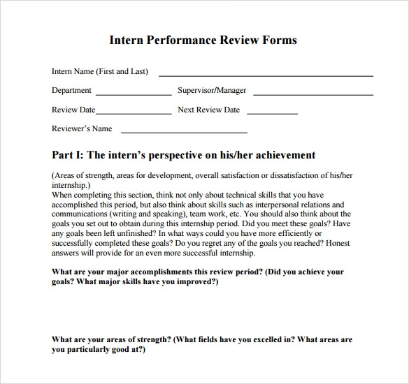 Employee Intern Performance Review