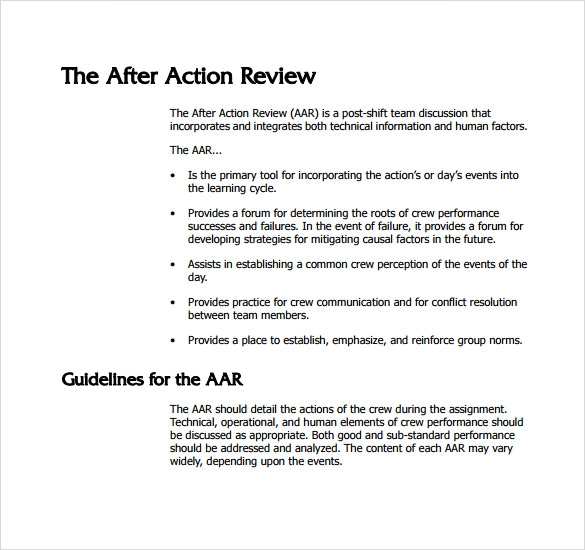 Sample After Action Review Template   7  Documents in PDF Word RsJT7Kqv