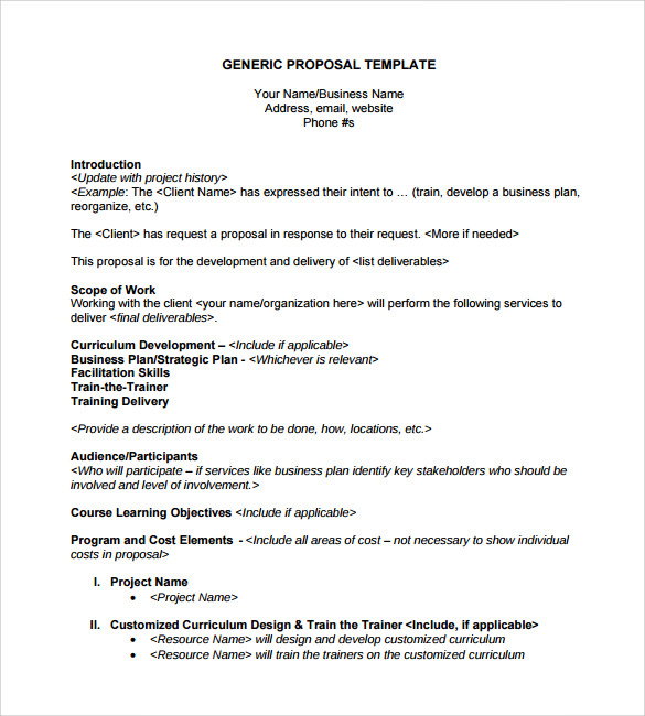 Sample Generic Business Proposal   Documents In Pdf Word